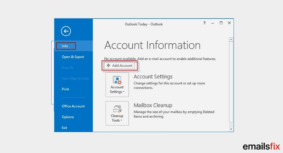 Select 'Add Account'  - setup gmail in outlook 2016