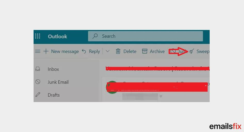 Select 'Sweep' - Block Email Address Outlook