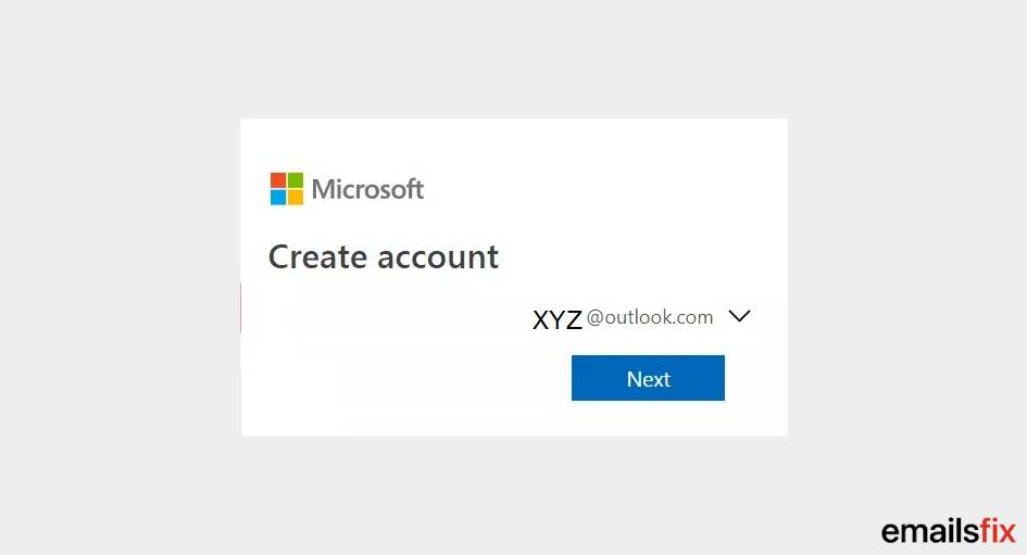 Click on 'Next' - create new outlook email